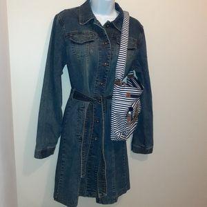 Armor Jeans Blue Denim Dress & Striped Bag 🇨🇦M